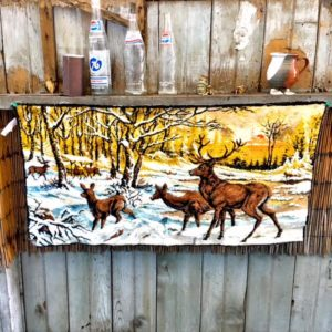 deer winter landscape italian tapestry