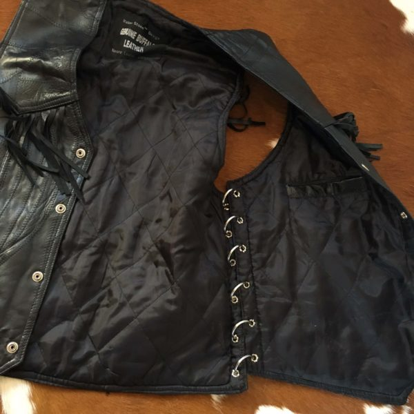 Men's black leather biker vest