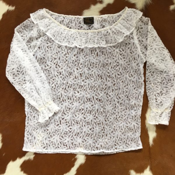 White lace ruffle women's blouse
