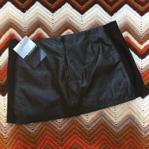 playboy leather mini skirt paneled