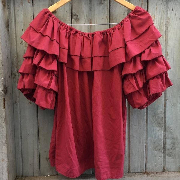 Texan Mexicali Red Ruffle Top