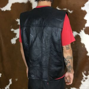 black leather motorcycle vest