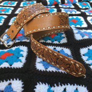 vintage Handtooled leather belt