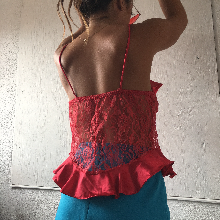 Red lace and ruffle top