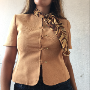 animal print scarf tan blouse