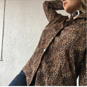 cheetah button up
