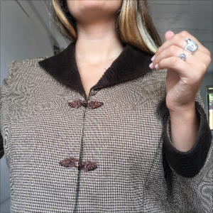 white and brown houndstooth 80s jacket
