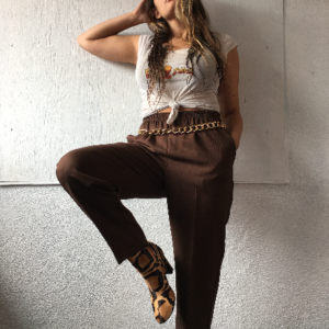 Brown Elastic Waist Trousers