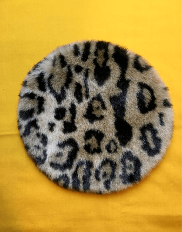 animal print faux fur 80s hat