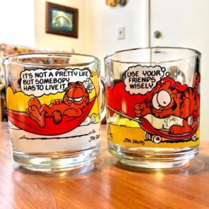 1978 garfield glass mugs by jim davis mcdonalds