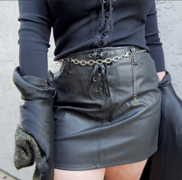 no boundaries 90s faux leather black skirt