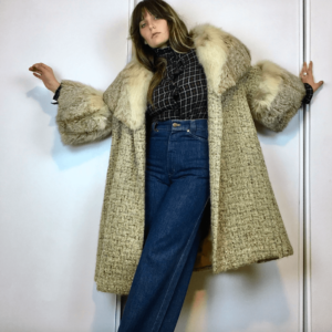 kalin's mohair angora coat with fox fur collar and cuffs