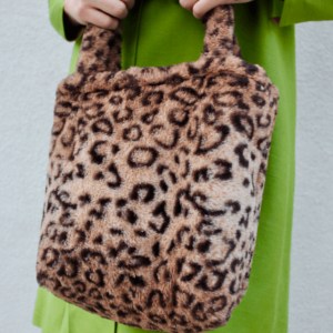 90s fuzzy cheetah hand bag with make up bag