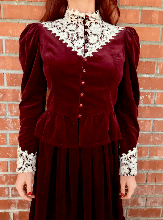 edwardian red cotton velvet skirt suit