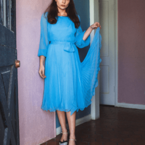 Miss Elliette 1950s Blue Chiffon Dress