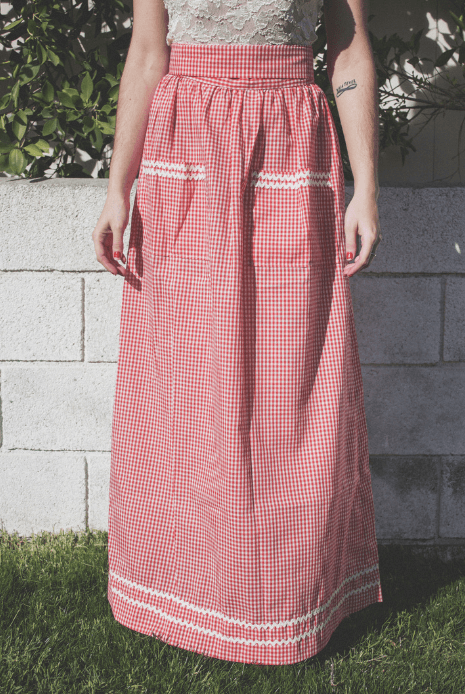 70s red and white gingham handmade skirt