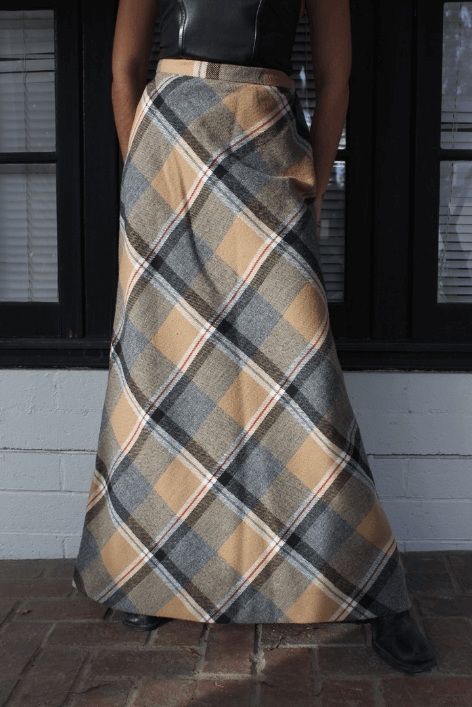70s handmade plaid maxi skirt