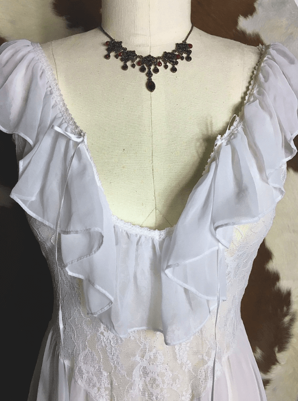 80s White Lace and Mesh Nightgown With Ruffle Neckline   Planetsleaze