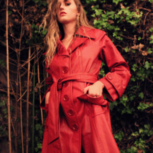 70s Red Leather Trench Coat