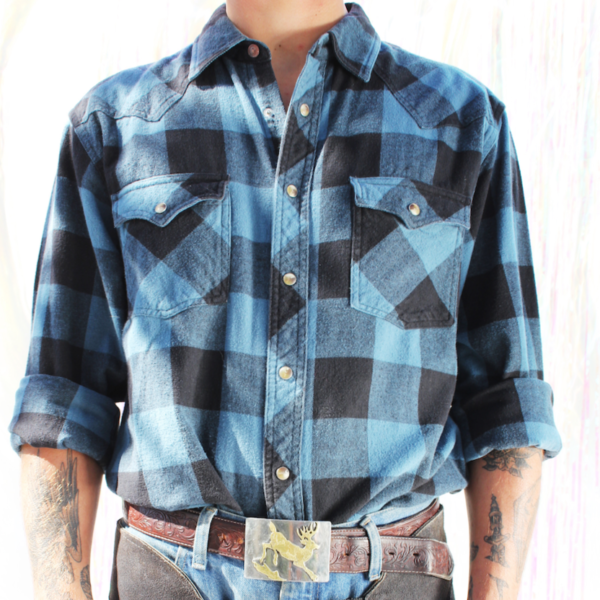 Modern Western Shirt with Marble Snaps