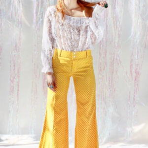 70s Hip Hugger Yellow and White Polka Dot Bell Bottoms