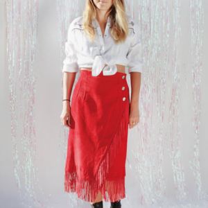 80s Red Suede Wrap Skirt With Fringe