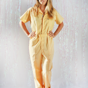 Womens Pastel Yellow Coveralls 70s Work Wear