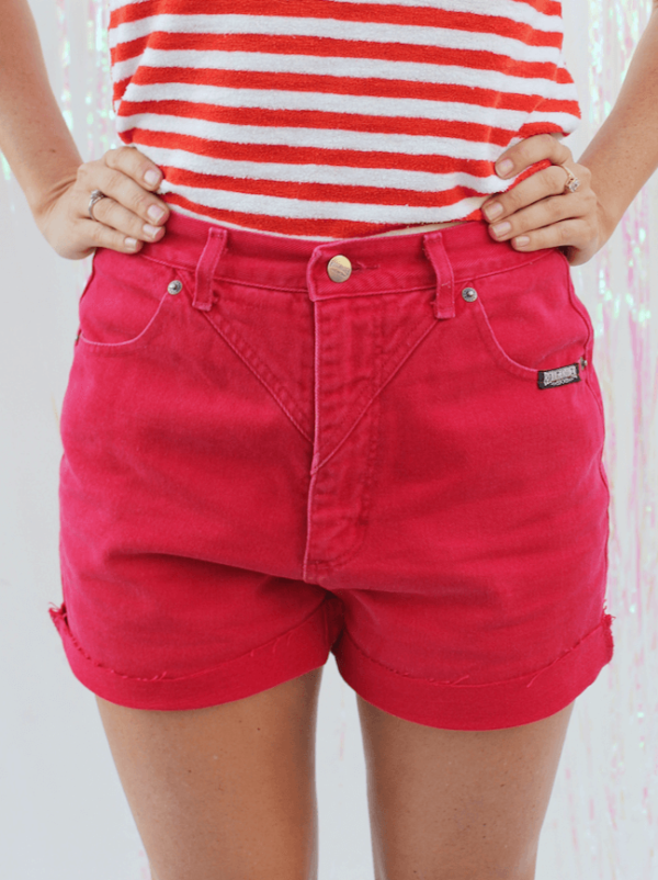 Red Denim Western Shorts